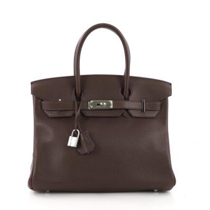 Hermes Replica Birkin Handbag Chocolate Swift with Palladium Hardware 30 d20c766467b40