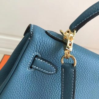 5e642d38b568 ... Designer Replica Hermes Blue Jean Clemence Kelly 25cm GHW Bag  Henderson